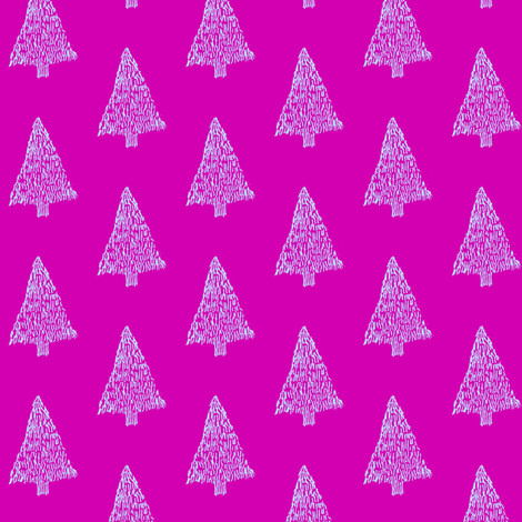 Pink Christmas trees fabric by annemclean on Spoonflower - custom fabric