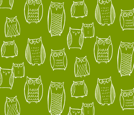 Night Owl green fabric by leanne on Spoonflower - custom fabric