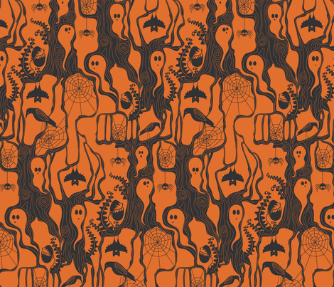 Garden of ghostly delights orange fabric by cjldesigns on Spoonflower - custom fabric