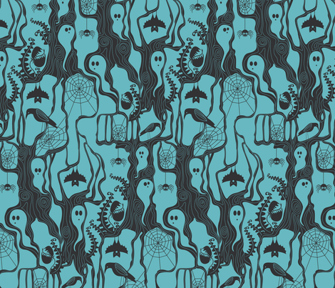 Garden of ghostly delights blue fabric by cjldesigns on Spoonflower - custom fabric