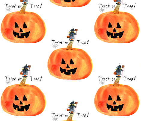 There's a Witch on my Pumpkin fabric by karenharveycox on Spoonflower - custom fabric