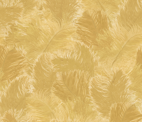 Ostrich Feather - large yellow fabric by minimiel on Spoonflower - custom fabric
