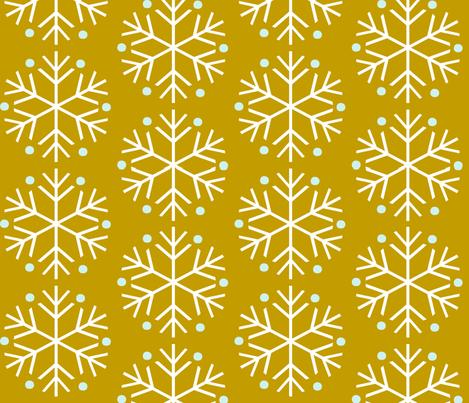 Snowflakes Mustard fabric by natitys on Spoonflower - custom fabric