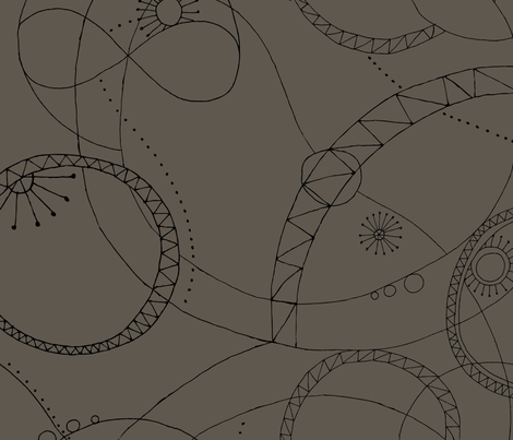 Cosmic Chatter - Gray and Black fabric by penina on Spoonflower - custom fabric
