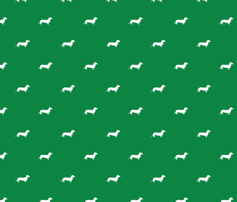 Dachshund Dots Christmas Green fabric by ben_goetting on Spoonflower - custom fabric