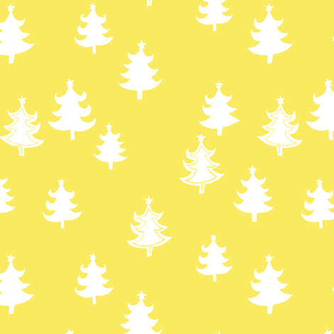 CHRISTMAS_TREE_yellow_WHITE fabric by lpt-workshop on Spoonflower - custom fabric