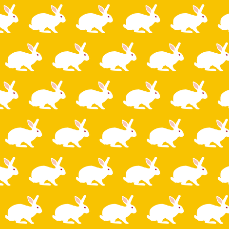 Rabbit on Goldenrod small scale fabric by pennyroyal on Spoonflower - custom fabric