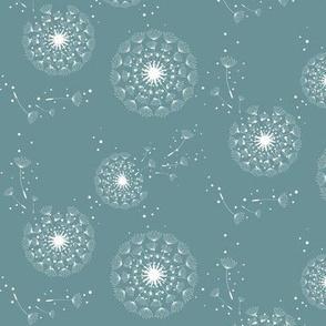 make a wish -dandelion on teal