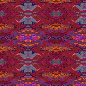 FISCHES WAVES BURGUNDY GEOMETRIC