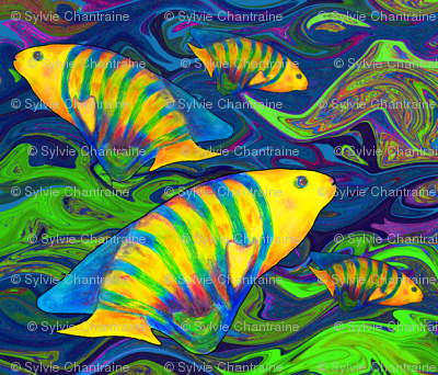 FISHES WAVES BLUE