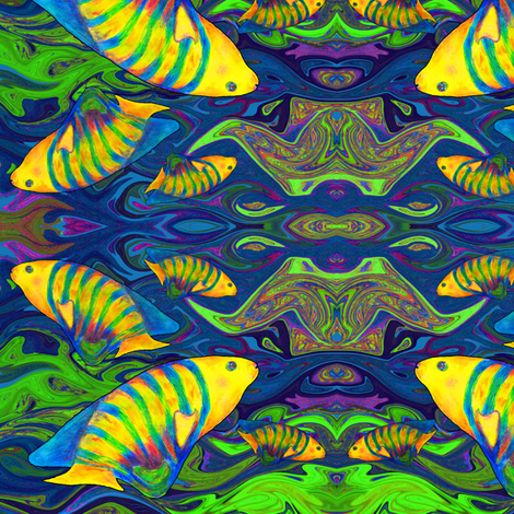 FISHES WAVES BLUE fabric by paysmage on Spoonflower - custom fabric