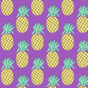 yellow pineapples purple background