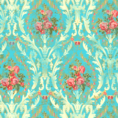 Roccoco fleur Roses aqua fabric by parisbebe on Spoonflower - custom fabric