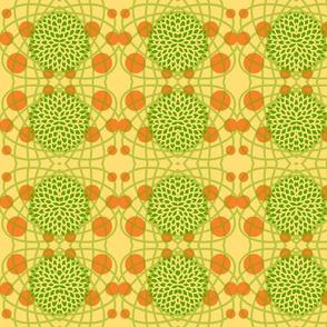 Green Hydrangeas with Orange Circles