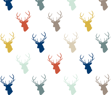 Modern Deer with Navy fabric by mrshervi on Spoonflower - custom fabric