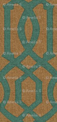 Victoria Trellis in Turquoise on Linen