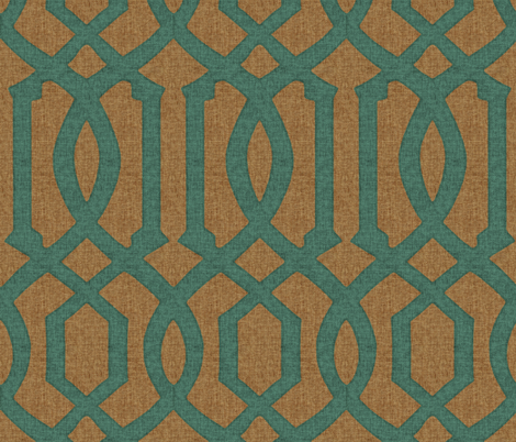 Victoria Trellis in Turquoise on Linen fabric by willowlanetextiles on Spoonflower - custom fabric