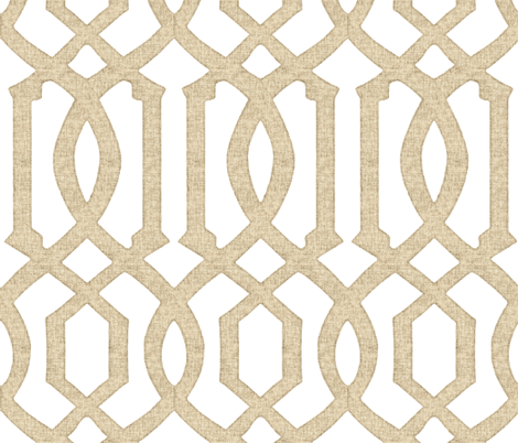 Victoria Trellis in Linen on White fabric by willowlanetextiles on Spoonflower - custom fabric