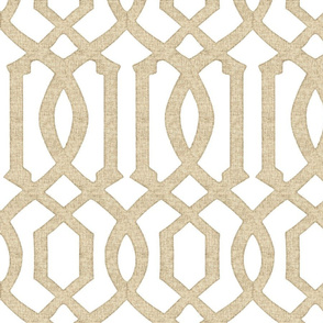 Victoria Trellis in Linen on White