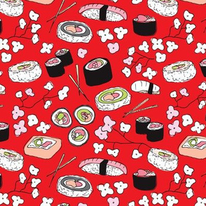 Cherry blossom sushi time japanese food red