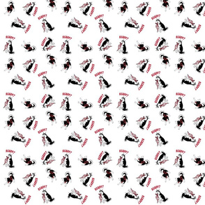 Siberian Husky w/harness tossed design