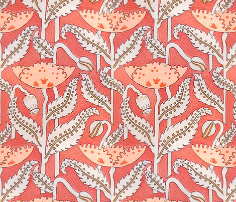 Antique Poppy in Coral fabric by willowlanetextiles on Spoonflower - custom fabric