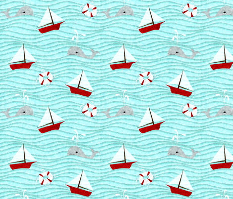 painted sea with whales fabric by glimmericks on Spoonflower - custom fabric