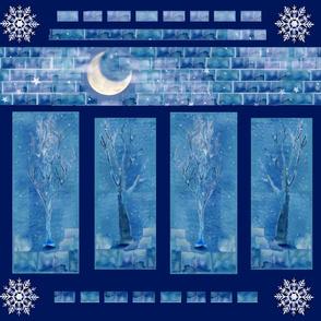Winter Trees Fabric Art Panel