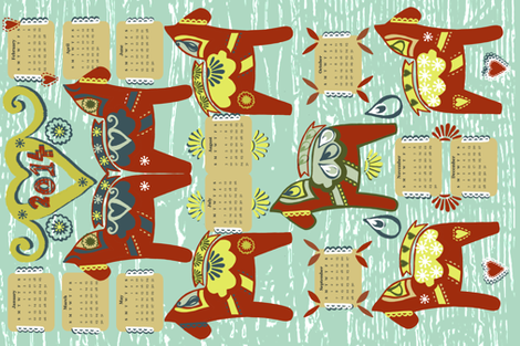 Year of the Dala Horse fabric by slumbermonkey on Spoonflower - custom fabric