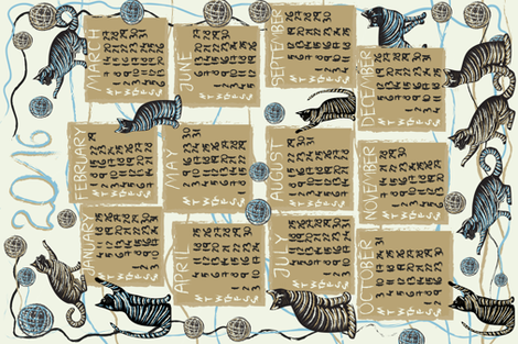 cat lover's calendar 2016 fabric by kociara on Spoonflower - custom fabric