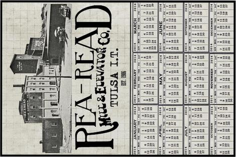 Rea-Read Mill Calendar Towel fabric by tulsa_gal on Spoonflower - custom fabric