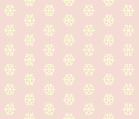 Creamy Snowflakes on Pink fabric by anniedeb on Spoonflower - custom fabric