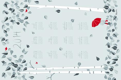 2014 Birch Tree Tea Towel Calendar fabric by lilleputt_studio on Spoonflower - custom fabric