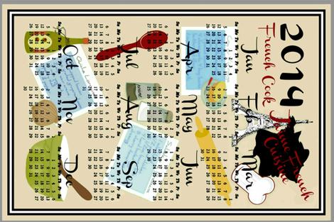 French Blue Calendar  fabric by paragonstudios on Spoonflower - custom fabric