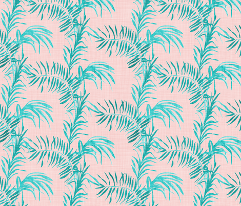Tropical Palm (LINEN rose quatz) fabric by nouveau_bohemian on Spoonflower - custom fabric