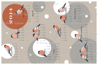 Bullfinch Tea Towel Calendar 2014