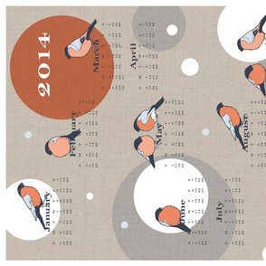 Bullfinch Tea Towel Calendar 2014