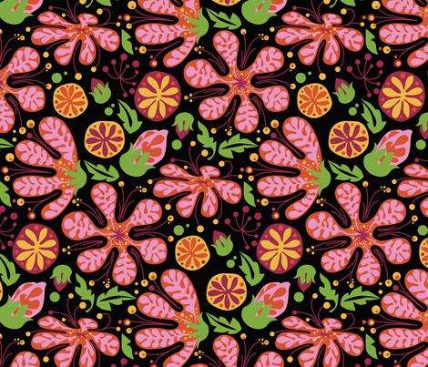 Wild Pink Blooms_onBlack fabric by robinpickens on Spoonflower - custom fabric