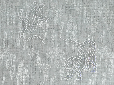 Asian Tiger - silver, white