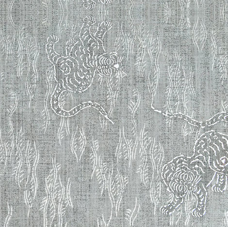 Asian Tiger - silver, white fabric by materialsgirl on Spoonflower - custom fabric
