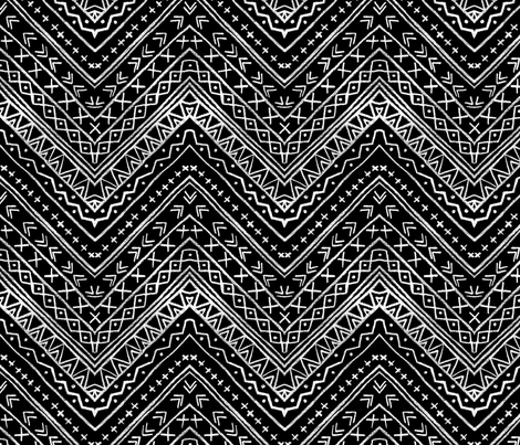 Chalk Tribal Chevron (black) fabric by leanne on Spoonflower - custom fabric