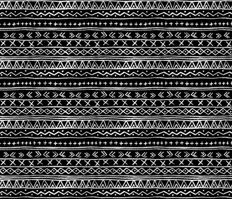 Chalk Tribal Stripe (black) fabric by leanne on Spoonflower - custom fabric