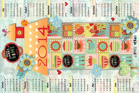 Home Sweet Home Tea Towel fabric by deeniespoonflower on Spoonflower - custom fabric