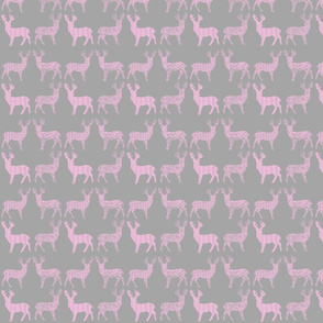Pink Meadow Deer on Grey