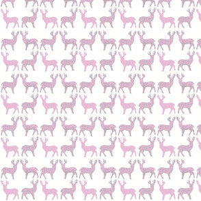 Pink Grey Meadow Deer on White