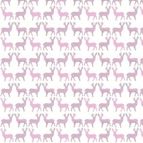 Pink Grey Meadow Deer on White