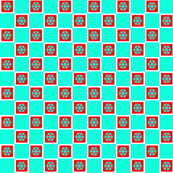 turquoise block red snowflake