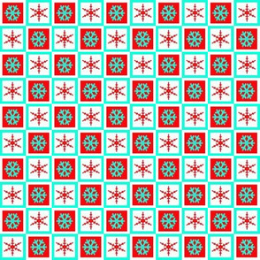 turquoise red snowflake block