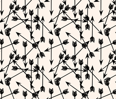 arrows scattered // black and white black and cream minimal arrows southwest tribal print fabric by andrea_lauren on Spoonflower - custom fabric