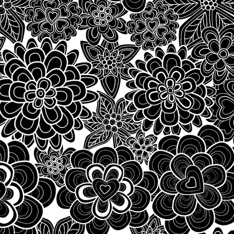 my happy flowers in black.  fabric by juliagrifol on Spoonflower - custom fabric